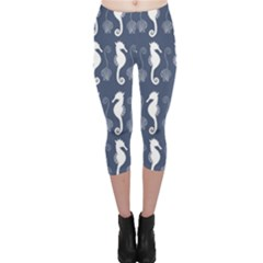 Seahorse And Shell Pattern Capri Leggings  by Simbadda