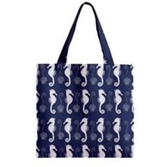 Seahorse And Shell Pattern Zipper Grocery Tote Bag by Simbadda