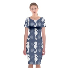 Seahorse And Shell Pattern Classic Short Sleeve Midi Dress by Simbadda