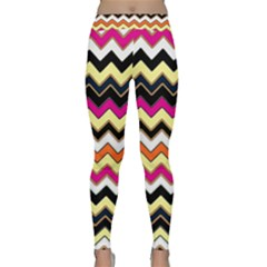 Colorful Chevron Pattern Stripes Pattern Classic Yoga Leggings by Simbadda