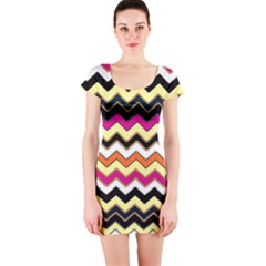 Colorful Chevron Pattern Stripes Pattern Short Sleeve Bodycon Dress