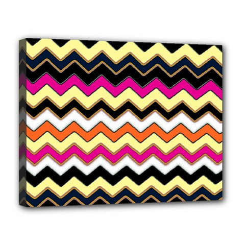 Colorful Chevron Pattern Stripes Pattern Canvas 14  X 11  by Simbadda