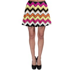 Colorful Chevron Pattern Stripes Pattern Skater Skirt by Simbadda