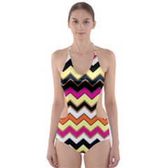 Colorful Chevron Pattern Stripes Pattern Cut Out One Piece Swimsuit by Simbadda