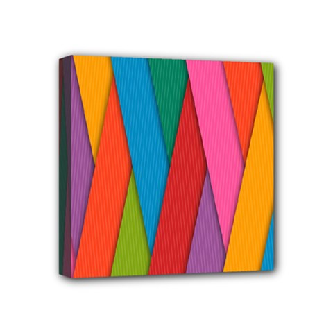 Colorful Lines Pattern Mini Canvas 4  x 4