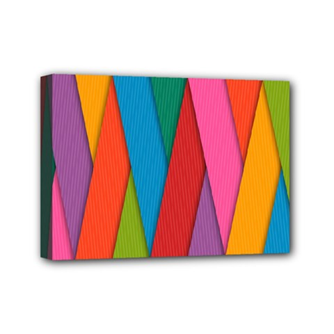 Colorful Lines Pattern Mini Canvas 7  x 5