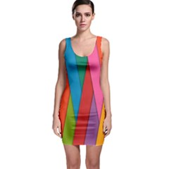 Colorful Lines Pattern Sleeveless Bodycon Dress