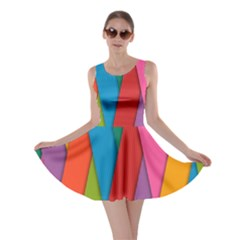 Colorful Lines Pattern Skater Dress