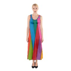 Colorful Lines Pattern Sleeveless Maxi Dress