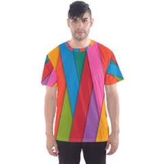 Colorful Lines Pattern Men s Sport Mesh Tee
