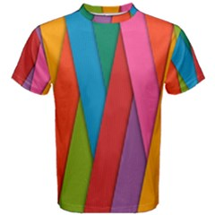 Colorful Lines Pattern Men s Cotton Tee