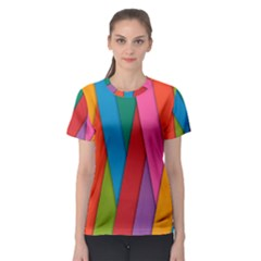 Colorful Lines Pattern Women s Sport Mesh Tee