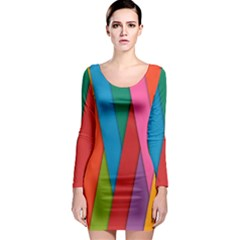Colorful Lines Pattern Long Sleeve Bodycon Dress