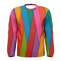Colorful Lines Pattern Men s Long Sleeve Tee