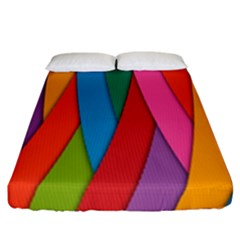 Colorful Lines Pattern Fitted Sheet (California King Size)