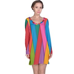 Colorful Lines Pattern Long Sleeve Nightdress
