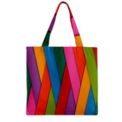 Colorful Lines Pattern Zipper Grocery Tote Bag