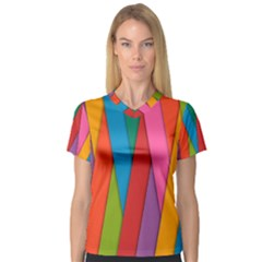 Colorful Lines Pattern Women s V-Neck Sport Mesh Tee
