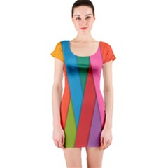 Colorful Lines Pattern Short Sleeve Bodycon Dress