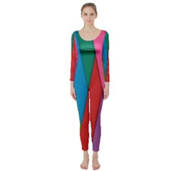 Colorful Lines Pattern Long Sleeve Catsuit