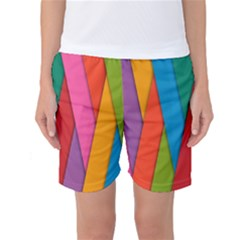 Colorful Lines Pattern Women s Basketball Shorts