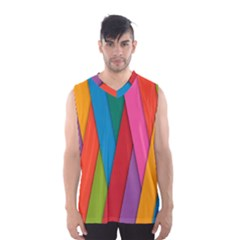 Colorful Lines Pattern Men s Basketball Tank Top