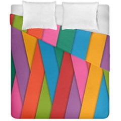 Colorful Lines Pattern Duvet Cover Double Side (California King Size)