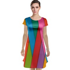 Colorful Lines Pattern Cap Sleeve Nightdress