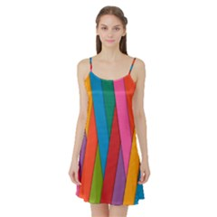 Colorful Lines Pattern Satin Night Slip
