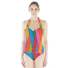 Colorful Lines Pattern Halter Swimsuit