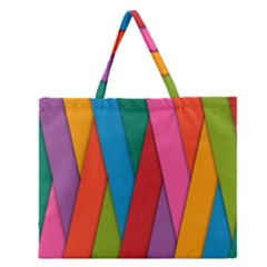Colorful Lines Pattern Zipper Large Tote Bag