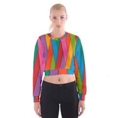 Colorful Lines Pattern Women s Cropped Sweatshirt