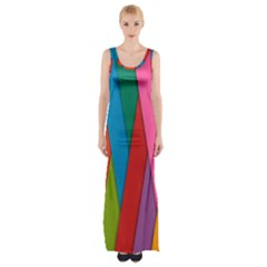 Colorful Lines Pattern Maxi Thigh Split Dress