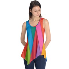 Colorful Lines Pattern Sleeveless Tunic