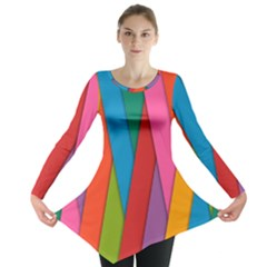 Colorful Lines Pattern Long Sleeve Tunic