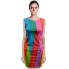 Colorful Lines Pattern Classic Sleeveless Midi Dress