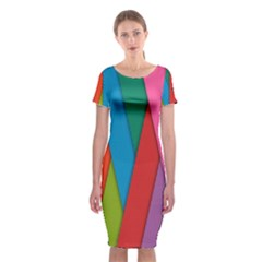 Colorful Lines Pattern Classic Short Sleeve Midi Dress