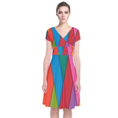Colorful Lines Pattern Short Sleeve Front Wrap Dress