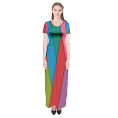 Colorful Lines Pattern Short Sleeve Maxi Dress