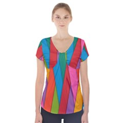 Colorful Lines Pattern Short Sleeve Front Detail Top