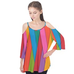 Colorful Lines Pattern Flutter Tees