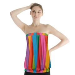 Colorful Lines Pattern Strapless Top
