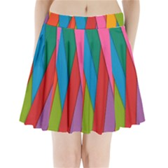 Colorful Lines Pattern Pleated Mini Skirt