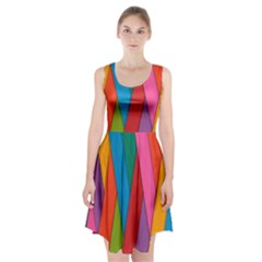 Colorful Lines Pattern Racerback Midi Dress