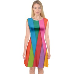 Colorful Lines Pattern Capsleeve Midi Dress