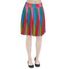 Colorful Lines Pattern Pleated Skirt