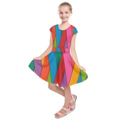 Colorful Lines Pattern Kids  Short Sleeve Dress