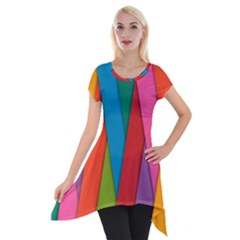 Colorful Lines Pattern Short Sleeve Side Drop Tunic