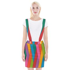 Colorful Lines Pattern Suspender Skirt