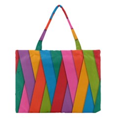 Colorful Lines Pattern Medium Tote Bag by Simbadda